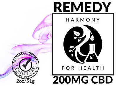 Harmony for Health Remedy CBD Salve Logo with kanji