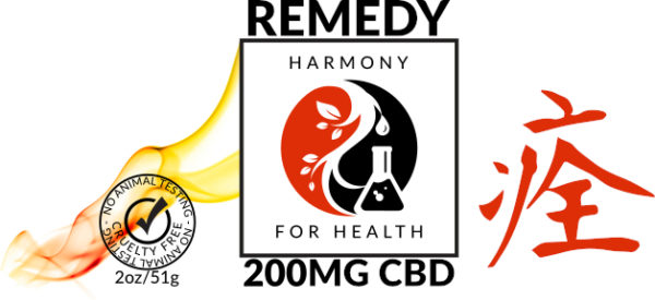 Harmony for Health Remedy Warming CBD Salve Logo with kanji